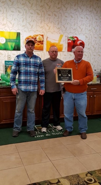 Bill Phelps receiving the 2016-2017 Open Dog Of The Year plaque from President Bill Butler and Vice President Tim Powell. — with Timothy Powell.