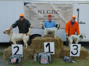 Saturday Olen Chapman Memorial Derby winners: 1st Bill Phelps with Daisy, 2nd Steve Fuess with Gus, and 3rd Colin Fowler with Harper